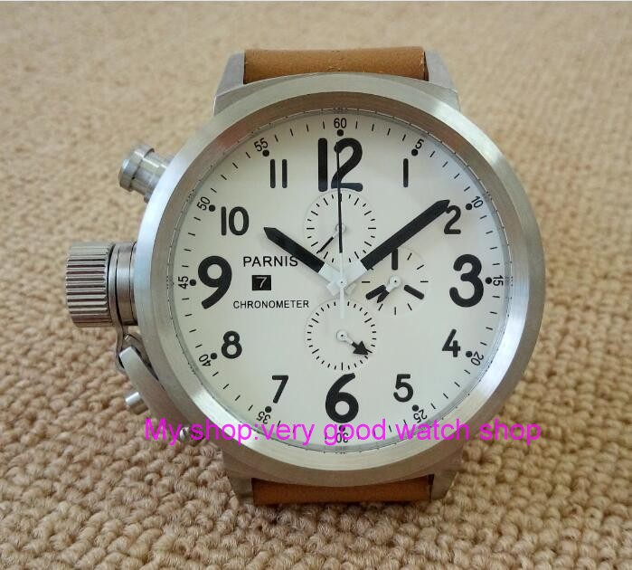 50mm PARNIS white dial Japanese font b quartz b font movement font b men s b