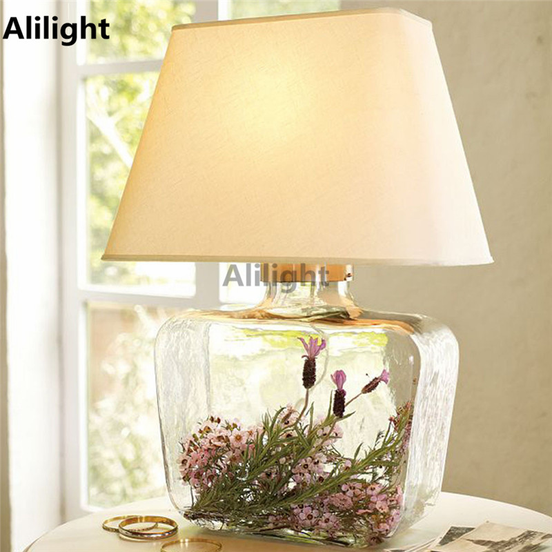 Novelty Clear Glass Romantic Table Lamp Bedroom Living Room Decorative Desk Lamps Brief Light E27