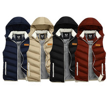 Korean Style Fashion Winter Men Vest Hooded Coats Casual Outwear Thick Warm Sleeveless Jackets Men British Classical Parka Homme(China)