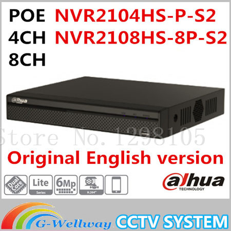 Dahua Original Englsih version NVR PoE 4/8CH NVR2104HS-P-S2 NVR2108HS-8P-S2 up to 6Mp Recording Onvif Network video recorder