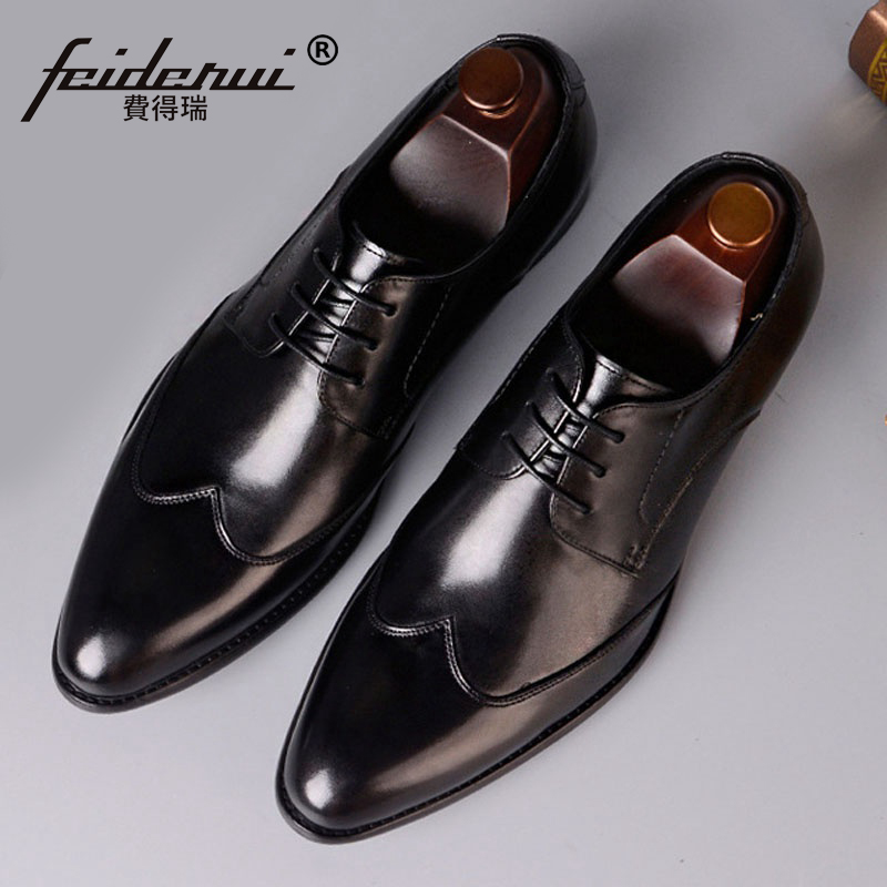 Hot Sales Man Formal Dress Derby Shoes Genuine Leather Handmade Wedding Party Flats Round Toe Men Quarter Brogue Footwear SS360 plus size hot sale pointed toe derby man banquet footwear fashion genuine leather wedding party men s formal dress shoes sl451