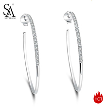 цена SA SILVERAGE 2019 Big Women Earring Silver Earings Silver 925 Jewelry Brincos 925 Sterling Silver Circle Hoop Earrings for Women онлайн в 2017 году