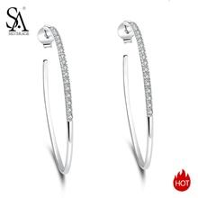 SA SILVERAGE 2019 Big Women Earring Silver Earings Silver 925 Jewelry Brincos 925 Sterling Silver Circle Hoop Earrings for Women
