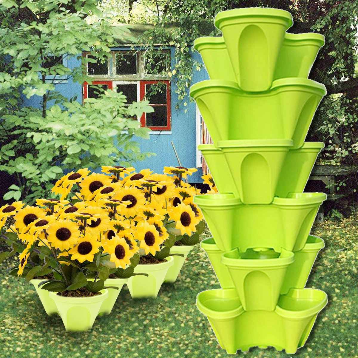 Empilháveis de Plástico Titular Plantador de Vaso de flores Vaso de Plantas Suculentas Bonsai Potes Berçário 5 Cores Para Casa Jardim Varanda Decoração