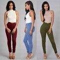 Sexy Pantalones Lápiz Mujeres Solid Vendaje Ajustado Pantalón de Cintura Alta Stretch Pantalones Casuales de La Moda 2016 Venta Caliente de Alta Calidad