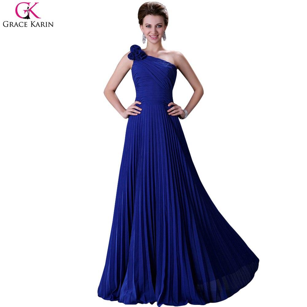 Grace karin one shoulder shoulder bridesmaid dresses for Royal blue wedding dresses cheap