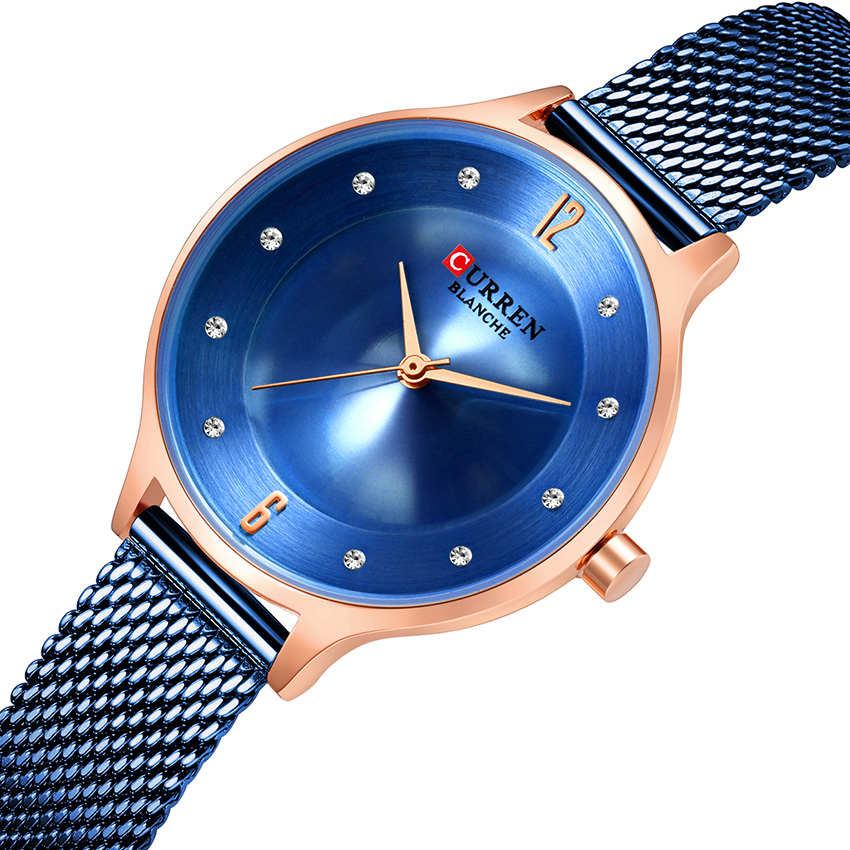 CURREN Cheap Watches For Women With Free Shipping Blue Elegant Women Watches Top Brand Luxury Stainless Steel Ladies Watches(China)