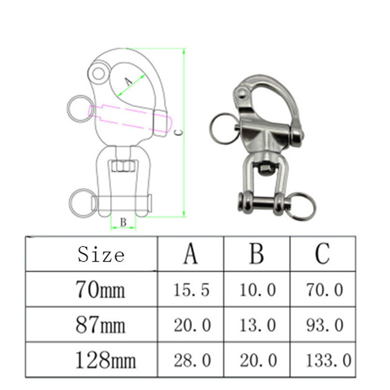 Image 5 - HCSSZP 70 mm 87 mm 128 mm 316 Stainless Steel Jaw Swivel Snap Tack Shackle for Sailboat Free Shipping-in Marine Hardware from Automobiles & Motorcycles