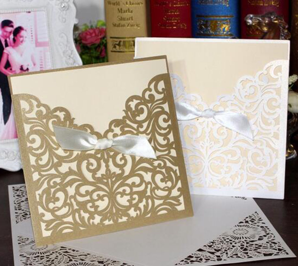 1pcs Square Laser Cut Lace Flower Invitations Cards Engagement Wedding Birthday Graduation Anniversary Envelopes Inner Card 1 design laser cut white elegant pattern west cowboy style vintage wedding invitations card kit blank paper printing invitation
