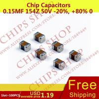 1LOT=100PCS Chip Capacitors 0.15uF 154Z 50V -20%, +80% 0805 150nF 150000pF Package0805 (2012 Metric) SMD