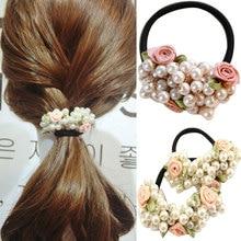 1 Pcs Women Fashion Elastic Hair Bands Rhinestone Crystal Pearl Flower Band Rope Ponytail Holder