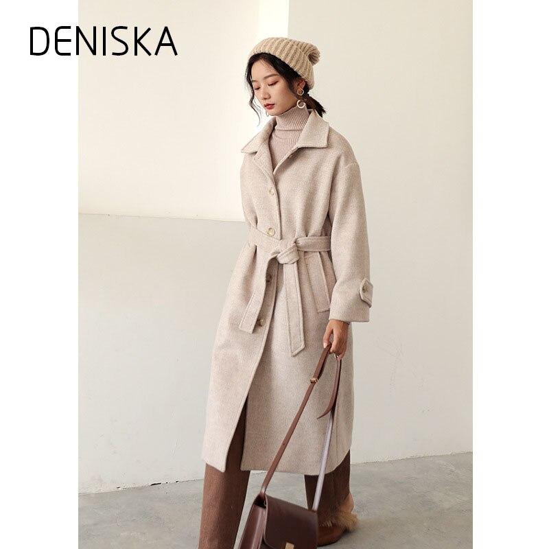 DENISKA Women Fashion Long Wool Coats Wear To Work Office ...