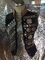 Новый мужской Моды Заклепки Горный Хрусталь Бисер Куртка Костюмы мужские Королевский стиль жилет Ночной Клуб dj певица танцор ds костюм