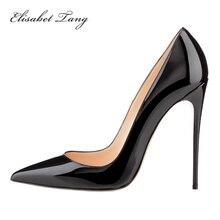 Брендовая обувь красные лодочки на высоком каблуке высотой 12 см женские свадебные туфли черные открытые туфли на высоком каблуке