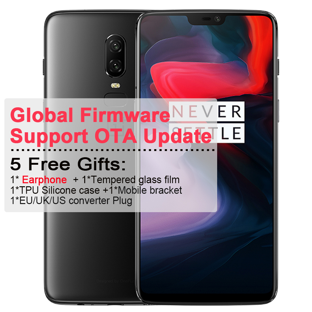 Original Oneplus 6 Mobile Phone 6.28 inch 19:9 6G RAM 64GB ROM Snapdragon 845 Octa Core Rear Camera 20+16mp NFC waterproof Phone