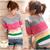 Venta caliente de La Buena Calidad de La Nueva Manera Señoras de Las Mujeres de Color A Rayas Suéter Que Basa La Camisa Pullover Géneros de Punto de La Rebeca Envío libre