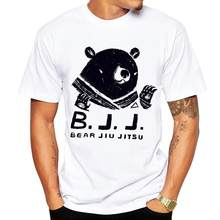 2018 Men's T-shirt Funny Print Bear Jiu Jitsu T shirt Men Brand Summer Round Neck White Cotton Short-sleeved Tee Shirt Homme(China)