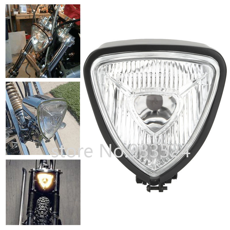 Universal Black Motorcycle Triangle Headlight For Harley Honda Yamaha Suzuki Kawasaki Chopper Bobber Cafe Racer Touring Custom цена 2017