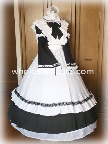 Long Black And White Maid Gothic Victorian Dress In