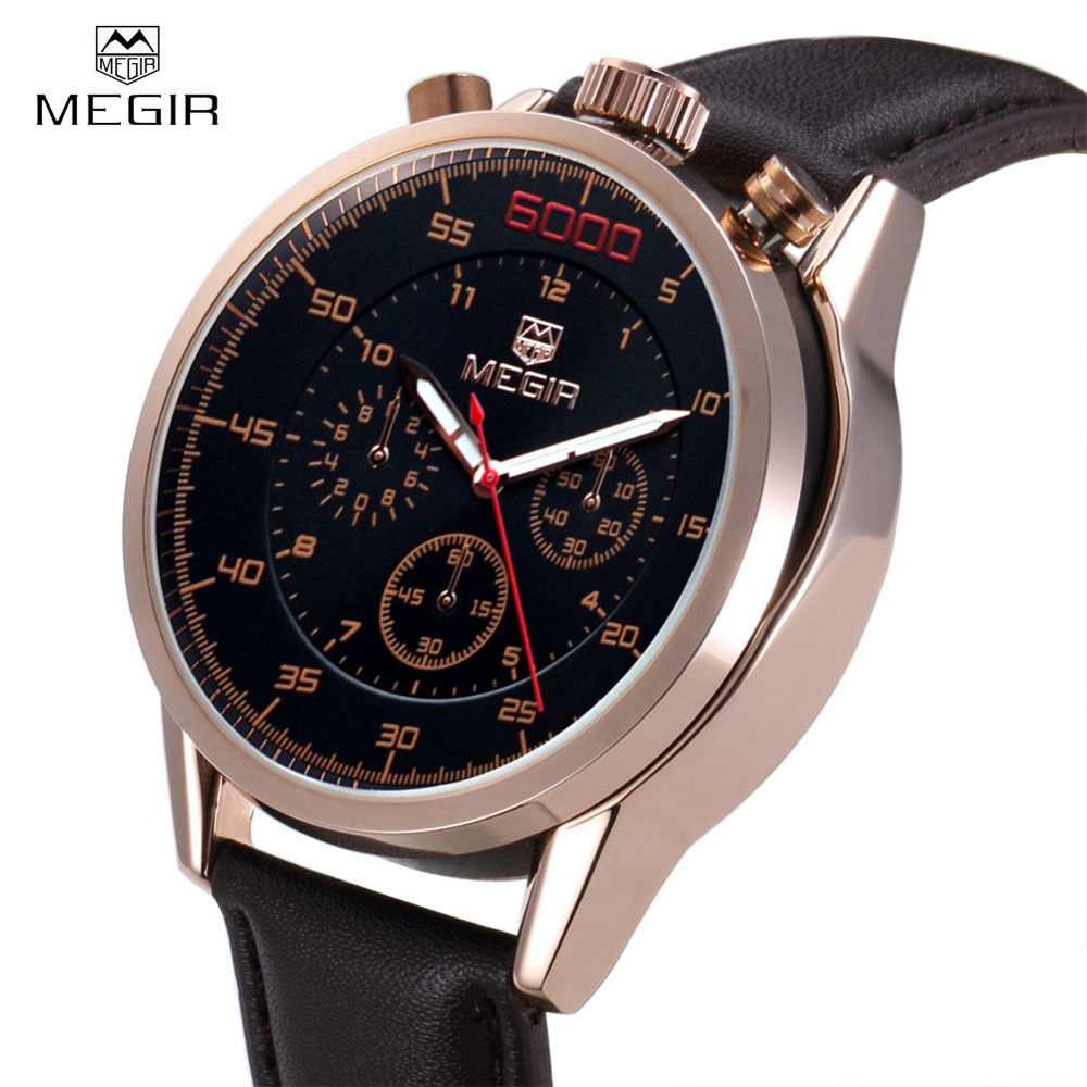 Megir Genuine Leather Army Luxury Watch Men Famous Brand Function Sports Quartz Watch Male Clock Casual Wristwatch Montre Homme megir fashion watch leather band men quartz watches brand waterproof clock luxury sport man wristwatch army style montre homme
