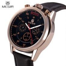 Megir Función Deportes Ejército Hombres de Relojes de Lujo Famosa Marca de Cuero Genuino Reloj de Cuarzo Hombre Reloj Casual Reloj Montre Homme