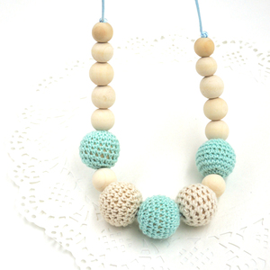 Drop shipping Mint teal cream crochet beads Teething necklace Breastfeeding mom necklace. baby shower gift EN14(China)