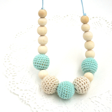 Drop shipping Mint teal cream crochet beads Teething necklace Breastfeeding mom necklace