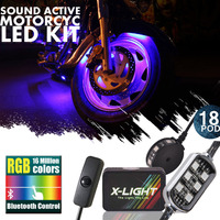 X LIGHT Blue Tooh Full Color LED Motorcycle Light Chrome Pod Kit Neon Bike Lighting Kit