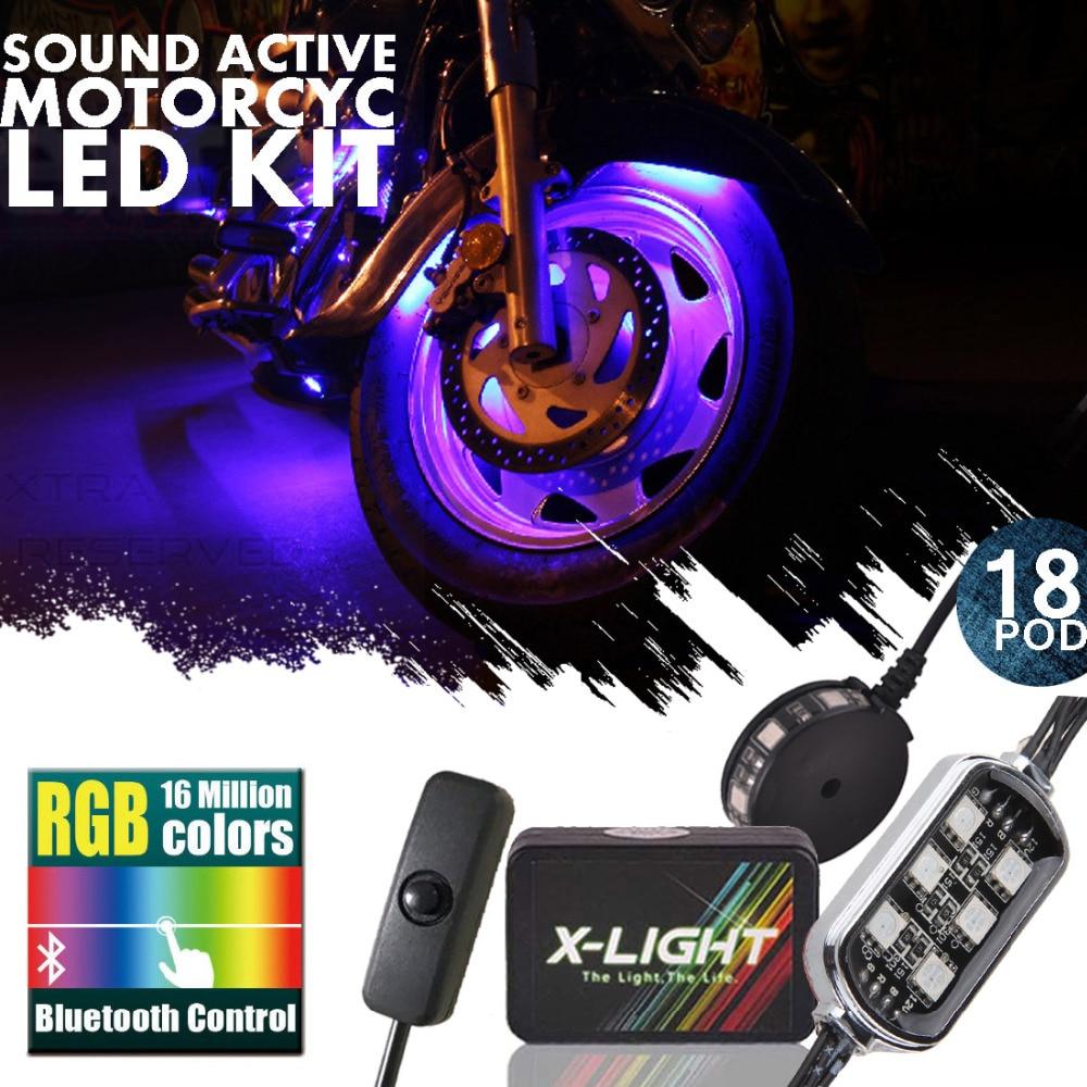 X-LIGHT Blue tooh Full Color LED Motorcycle Light Chrome Pod Kit Neon Bike Lighting Kit 18pcs 108LEDs Turn Signal Fuction