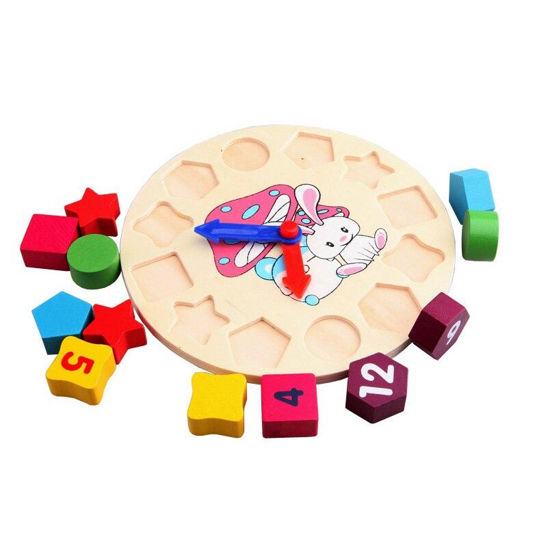 Купить с кэшбэком 1 Set Wooden Block Toys Fraction Shape Sorter 12 Number Mathematics Matching Paired Blocks Toy Rabbit Clock Block Toy Math Toys