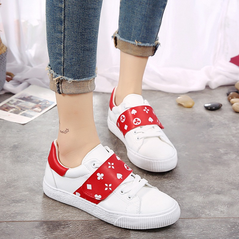 Women Casual Sneakers Hook Loop White Shoes Leather Shoes for Female Flat Heel 2018 Spring New Lady Shoes Flats 35-40 MJ0577