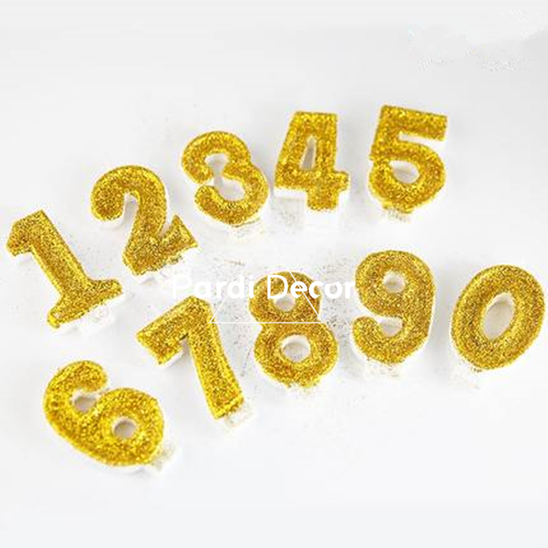 Hand Made Gold Bling Powder Birthday Candle Golden Numbers Kids Party Favor 1pc Lot In Cake Decorating Supplies From Home Garden On