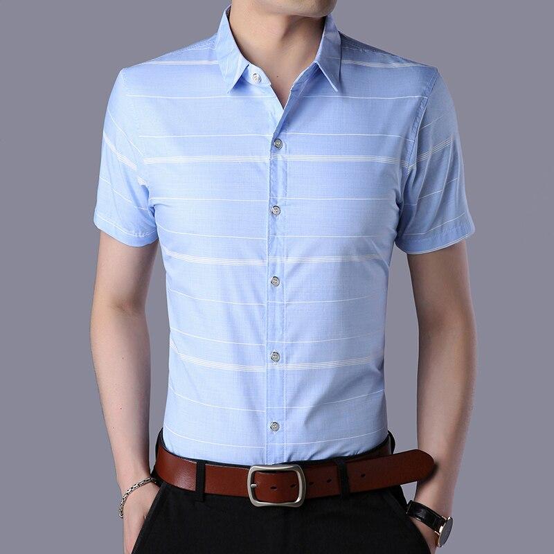 LEFT ROM 2018 summer fashion men's slim fit stripe Short sleeve shirt /high-grade men Pure cotton comfortable leisure shirt