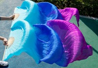 2016 High Quality Silk Belly Dance Fan Dance 100 Real Silk Veils Left Right Blue Colors