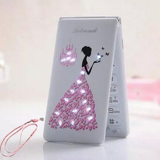 Флип 2,4 с сенсорным экраном и двумя SIM картами, в режиме ожидания, русский, французский, испанский, для женщин и девушек, милый светодиодный фонарик, мобильный телефон GSM