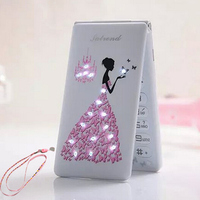 2015 Flip Russian French Spanish Portuguese Arabic D11 Phone Women Girls Lady Cute LED Flashlight Cell
