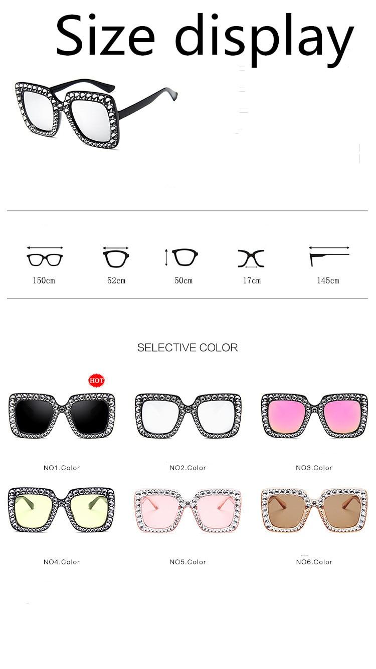 ASUOP2018 International Brand Sunglasses Ladies Crystal Multicolor Mirror Retro All Star Glasses Women Black Gray Hue Sunglasses (2)
