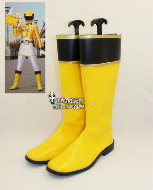 Tensou Sentai Goseiger Moune Sarı Cosplay Uzun Ayakkabı Botları X002