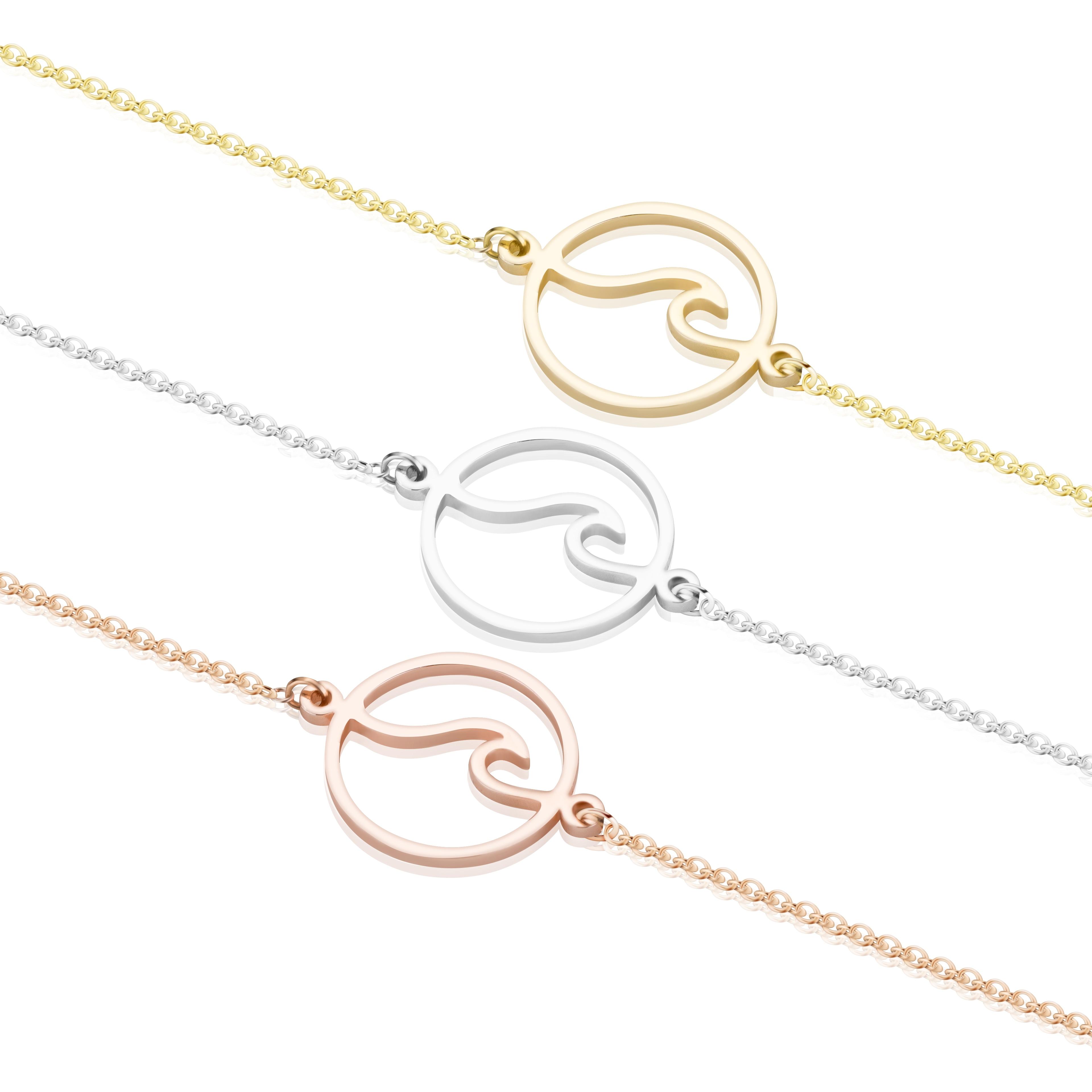 Charm Stainless Steel Ocean Sea Wave Shaped Bracelet Bangle Korean Fashion Handmade Wave Beach Jewellery Gifts for Women