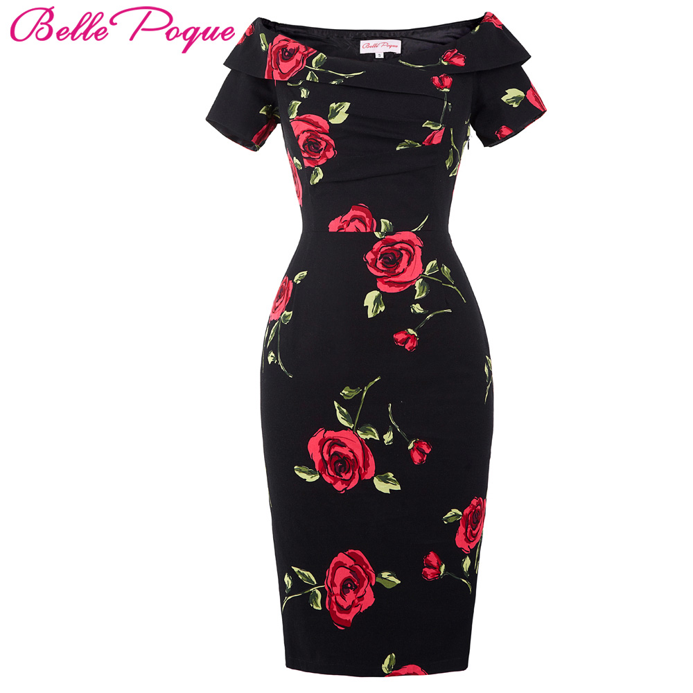 e243554c4c1 Belle Poque 2017 Women Shoulder Slim Bodycon Dress 50s Floral Swing Summer  Office Sexy ...