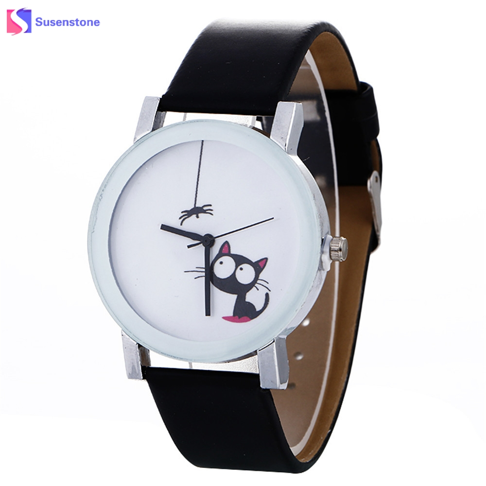Fashion Cute Cat Printed Leather Quartz Wrist Watch Men Women Analog Clock Women's Sport Watches relogio feminino 2017 Hot Sale 2017 hot sale women s clock retro rainbow design watches pu leather band analog alloy quartz wrist watch relogio feminino m22