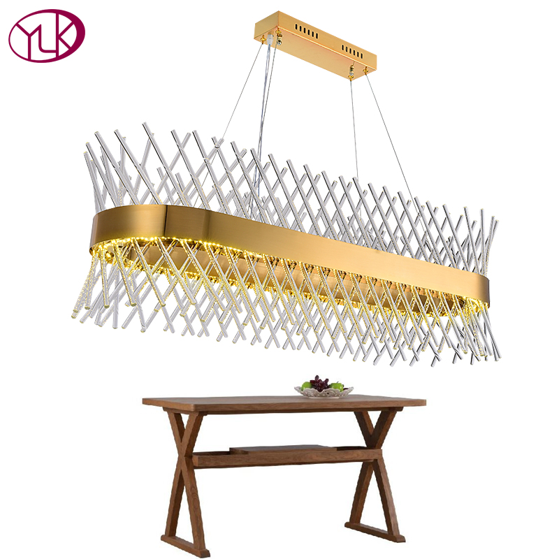 Youlaike Luxury Modern Glass Chandelier Rectangle Dining Room Hang Cristal Lustre AC110-240V Gold Kitchen Island Crystals Lamp