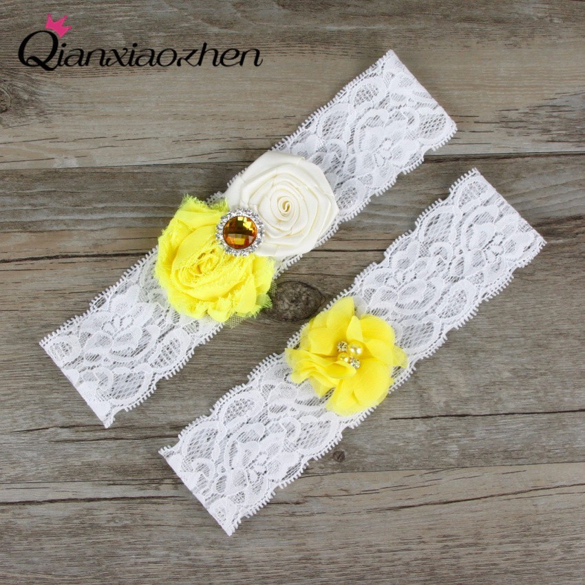 Qianxiaozhen 2pcs/set Lace Leg Yellow And White Wedding