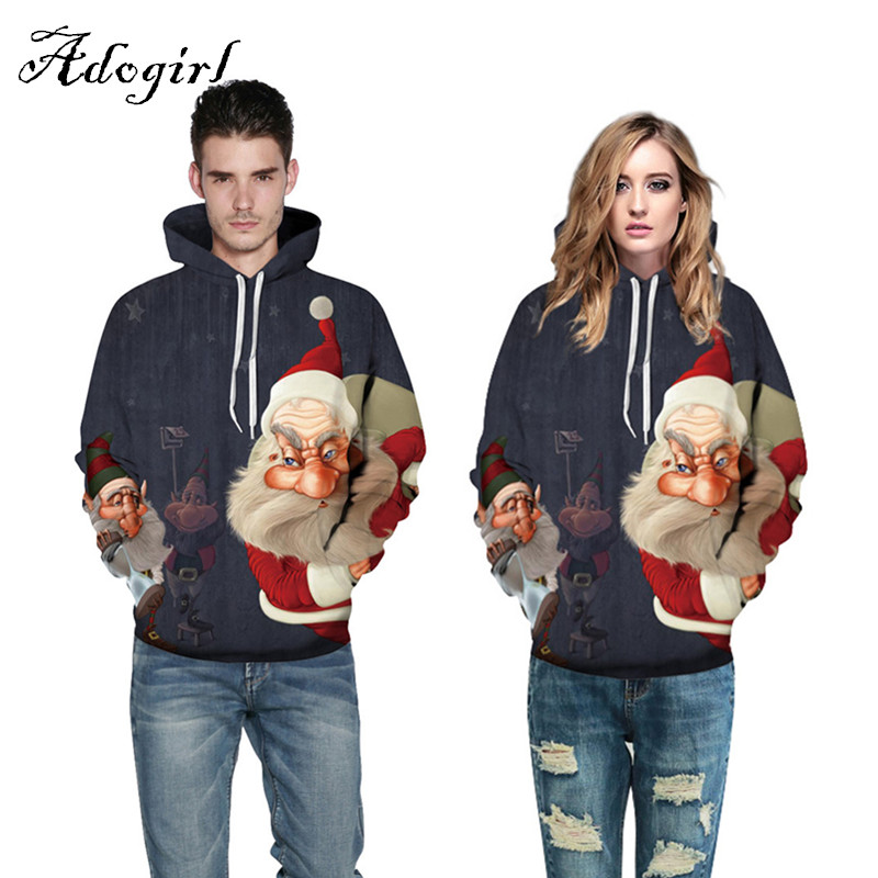 Plus Size 2017 Fashion Christmas Party Sweatshirt Unisex Men Women 3d Print Santa Thin Hooded Hoodies Loose Pullovers Tracksuits
