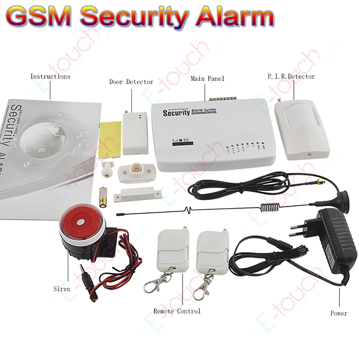 free shipping wireless home gsm security alarm system for baby monitor and security home english. Black Bedroom Furniture Sets. Home Design Ideas