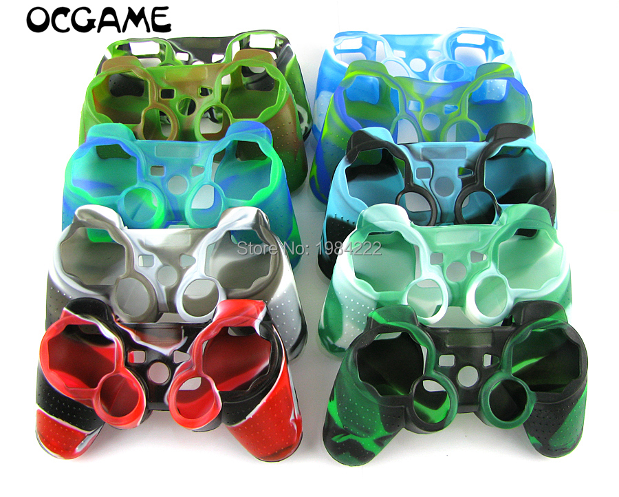 50pcs lot 10 colors available Camouflage Soft Anti slip Protective Silicone Cover Case Shell For PS3