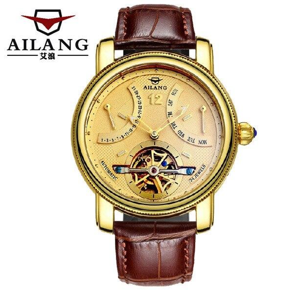 AILANG, новинка, римские мужские многофункциональные турбийон часы, автоматические, заводные, настоящая кожа, наручные часы, неделя, Calendar Relojes W022 - 5