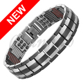 Channah 2017 Titanium Bracelet For Men Silver Black Wristband 4in1 Magnets -ve Ions Far Infra Red Bangle Free Shipping Charm