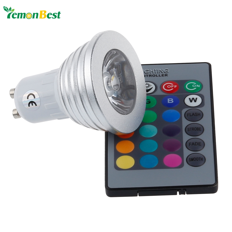 4w gu10 rgb led light bulb 16 color rgb change 110v 220v with remote for home party decoration. Black Bedroom Furniture Sets. Home Design Ideas