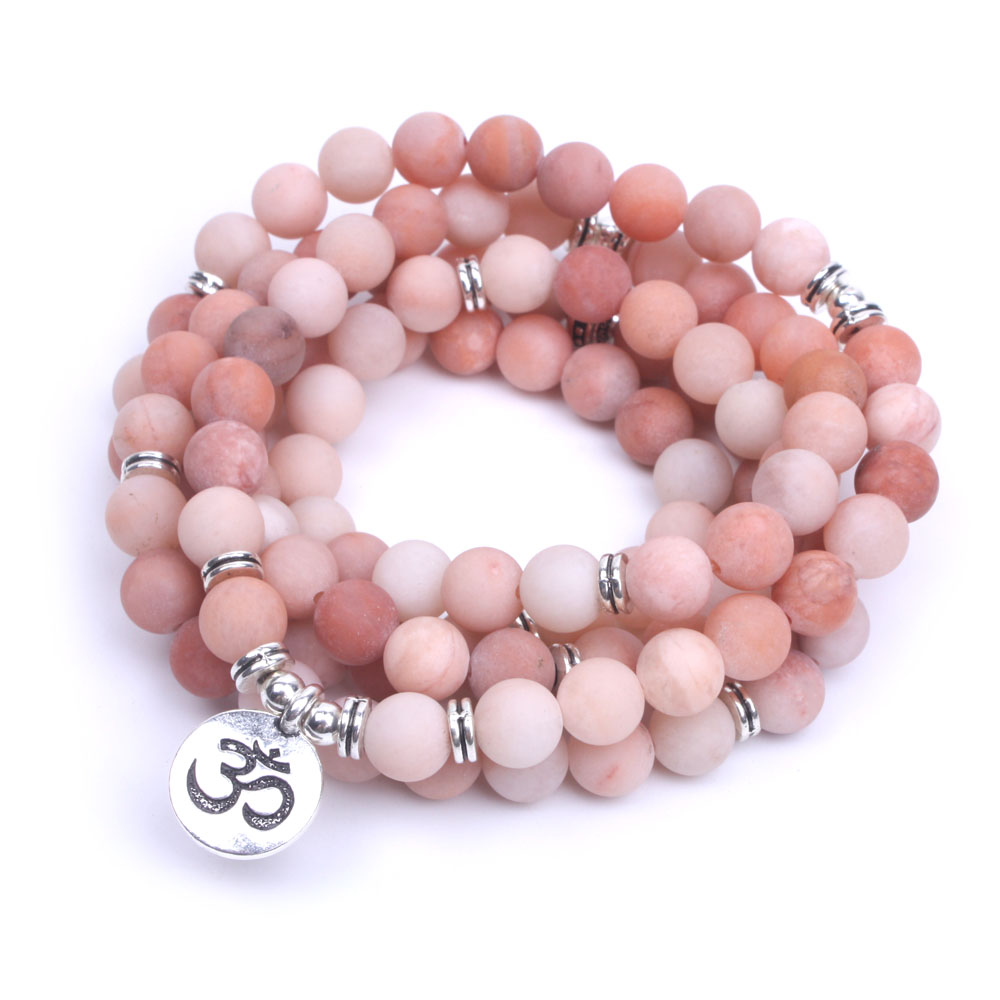 108 Pink natural stone Frosted mala bracelet elasticity OM,Lotus, Buddha Charm Bracelet for women yoga necklace dropshipping
